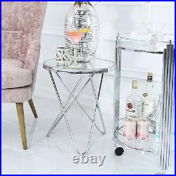 Atom Mirrored Glass Top Bedside End Table Lamp Display Side Table Drinks Table