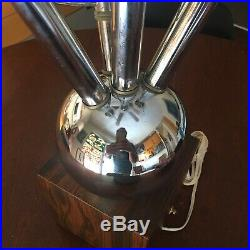 Atomic MCM Mid Century Modern Sputnik Floor Or Table Lamp Chrome Glass Bulbs Vtg