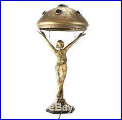 Austrian Gilt Metal & Chunk Glass Female Figural Table Lamp, Art Nouveau c. 1910