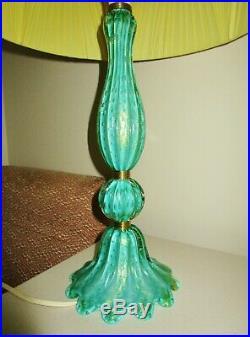 BEAUTIFUL TALL 1950s MID CENTURY VINTAGE JADE GREEN BULLICANTE GLASS TABLE LAMP