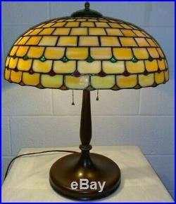 BEST LAMB BROS leaded glass lamp Handel Tiffany Duffner arts & crafts era slag