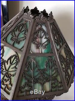 BRADLEY & HUBBARD B&H Bronze Slag Glass Table Lamp MAPLE Leaf Design Arts Crafts