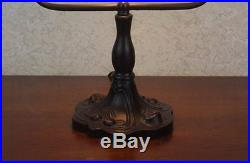 Banker's Table Lamp Tiffany Style Multicolor Stained Glass Shade 12 High