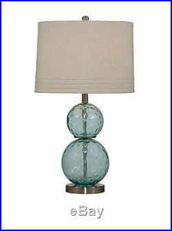 Bassett Mirror Barika Table Lamp, Blue Dimple Glass