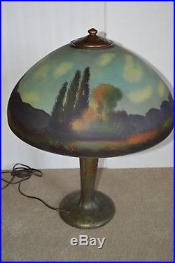 Beautiful 17 3/4 Signed Handel Reverse-painted Table Lamp