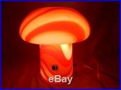 Beautiful 70´s CARLO MORETTI mushroom design Murano glass table lamp Tischlampe