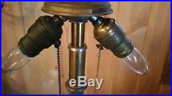Beautiful Antique Bradley & Hubbard Slag Glass Table Lamp