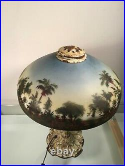 Beautiful Antique Reverse Painted Scenic Jungle Glass Table Lamp Circa 1900