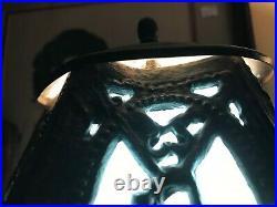 Beautiful Small Vintage Blue Slag Glass Table Lamp Light & Shade