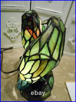 Beautiful Stained Glass Love Birds Lamp 12 Tall