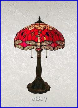 Beautiful Tiffany Style Red, Dragonfly Table Lamp Shade 16