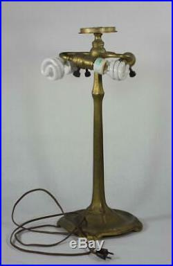 Beautiful Working Tiffany Studio Colonial Lamp With Base