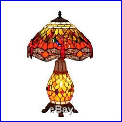 Bieye 12-inches Dragonfly Tiffany Style Stained Glass Table Lamp Lighted Base