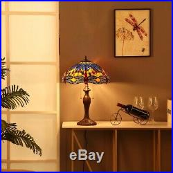 Bieye Dragonfly Tiffany Style Stained Glass Table Lamp Bedside 16W Orange Blue