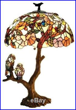 Birds Stained Glass Table Lamp Tiffany Style Shade 29H