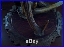 Black Forest Vintage OOAK Genuine Moose & Deer Antler Stained Glass Table Lamp