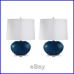 Blown Glass Oval Table Lamp in Royal Blue Set of 2 Royal Blue