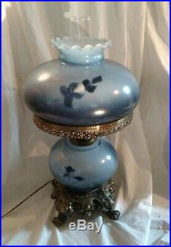 Blue Floral Hand Painted Gone With The Wind 3 Way Hurricane Glass Table Lamp