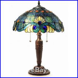 Blue Jeweled 25H Table Lamp Stained Glass Art Light Lamps NEW