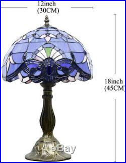 Blue Purple Baroque Tiffany Style Table Lamp Stained Glass Lampshade Antique