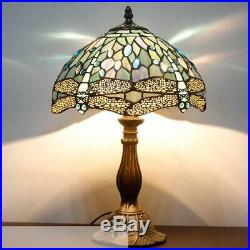 Blue Stained Glass Dragonfly Table Lamp Tiffany Style Shade Antique 60W Desk New