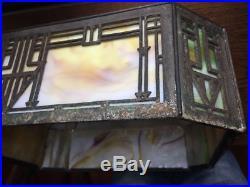 Bradley & Hubbard 1908 dated Arts & Crafts Prairie School slag glass table lamp