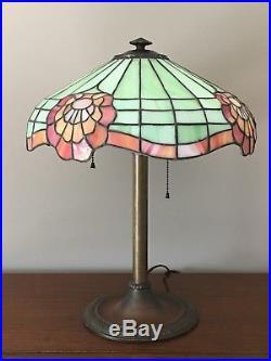 Bradley & Hubbard Art Nouveau 24 Panel Slag/Stained Glass Tiffany Style Lamp
