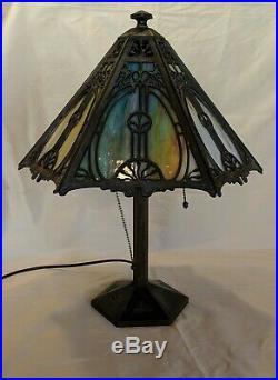 Bradley & Hubbard Cast Bronze Table Lamp w Hexagonal Metal Overlay Slag Shade