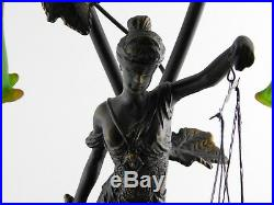 Bronze Brass Lamp Lady Justice Holding Scales Glass Lily Flower Lampshades