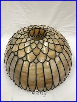 C1920s Bradley & Hubbard Sunflower Slag Leaded Glass Shade Electric Table Lamp