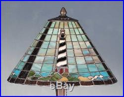 CAPE HATTERAS TIFFANY STYLE Stained Glass Table Lamp 21H NAUTICAL LIGHT HOUSE