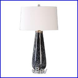 Charcoal Gray Black White Art Glass Table Lamp Elegant Modern Gloss