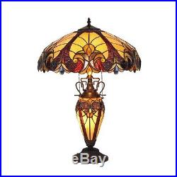 Chloe Lighting Tiffany Style Double lit Victorian Design 3 light Table Lamp
