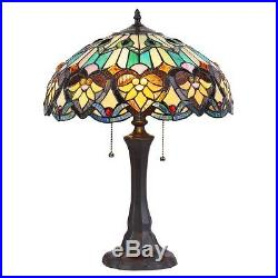 Chloe Lighting Tiffany Style Victorian Design 2 light Bronze Table Lamp