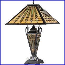 Chloe Tiffany Style Mission Design Dark Bronze Double Lit 2+1 light Table Lamp