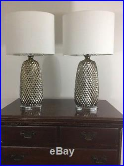 Chrome Glass Pineapple Modern Table Lamps Pair
