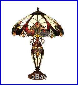 Classic Vintage Style Tiffany Table Base Lamp Handcrafted Stained Cut Glass NEW