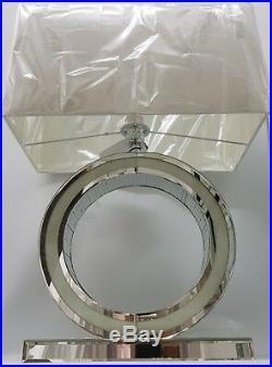 Clear Diamond Crush Circle Silver Mirrored Table Lamp White Faux Silk Shade 68cm