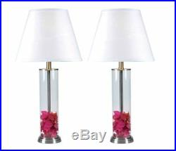 Clear Glass Fillable Table Lamp Set 2 Multi Directional Light White drum shades