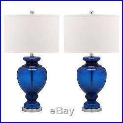 Clear Glass Table Lamp Navy Blue/White (Set of 2) Safavieh