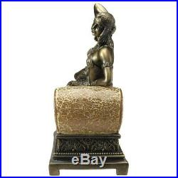 Cleopatra Queen Of Egypt Art Deco Mosaic Design Toscano Sculptural Glass Lamp