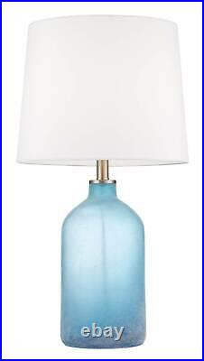 Coastal Table Lamp Set of 2 Blue Frosted Glass for Living Room Bedroom