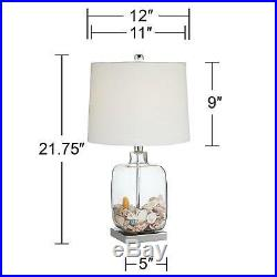 Coastal Table Lamp Set of 2 Clear Glass Shells Nickel for Living Room Bedroom