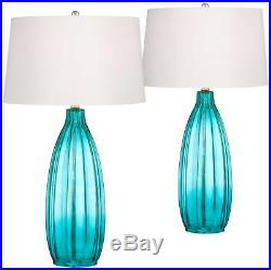 Coastal Table Lamps Set of 2 Fluted Blue Glass for Living Room Family Bedroom
