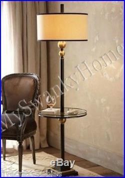 Contemporary Black White End Table FLOOR LAMP PAIR Set NEIMAN MARCUS Modern