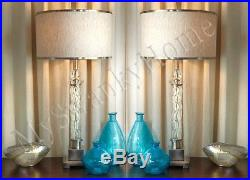 Contemporary CARVED GLASS Table Lamp PAIR Set Chrome Nickel NEIMAN MARCUS Modern