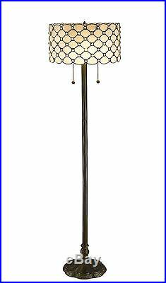 Contemporary Tiffany Style White Jeweled Table and Floor Lamp Set