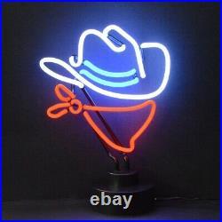 Cowboy neon sign sculpture table glass lamp desert southwest rodeo Texas light