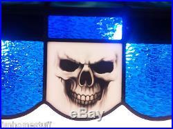 Custom Skull 40 Stained Glass Pool Table Light Hanging Bar Garage Game Lamp