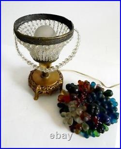 Czech lamp in basket form fruit glass art shade